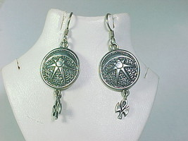MOON STAR ANGEL Dangle EARRINGS in Sterling - Artisan signed - 1 7/8 inc... - $48.00