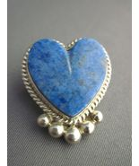 Silver denim lapis heart pin pendant - $30.00