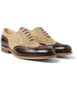 Handmade Men's two tone leather formal shoes,Men's beige and brown dress... - £130.65 GBP+