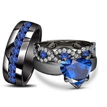 His & Her Heart Shape Blue Sappire 14k Black GP 925 Silver Trio Wedding Ring Set - $170.99