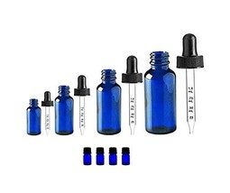 Natura Bona Essential Oil Kit  Pack of 4 Cobalt Glass Calibrated Dropper... - $22.99