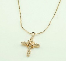 18K Alloy Swarovski Cross Pendant Necklace(Color:Gold /Platinum ) - £12.93 GBP