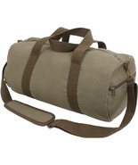 Olive Drab Canvas Gym Duffle Carry Shoulder Bag with Brown Straps - $18.99