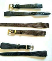 Vintage Lot Of 3 Hirsch Lizard Leather Watch Straps 10mm 12mm Brown Blac... - $19.99