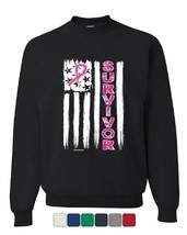 Survivor Pink Ribbon US Flag Sweatshirt Breast Cancer Awareness Sweater - $18.38+