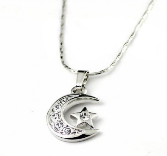 18K RGP Swarovski Moon&Star Alloy Necklace