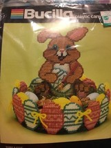 NEW Bucilla Plastic Canvas Needlepoint Easter BUNNY EGG centerpiece basket 6017 - $14.85