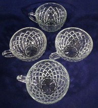 """Depression Anchor Hocking 4- Coffee Cups Waterford Waffle Clear Glass 2.5"""" Tall - $5.94"""