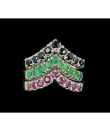 Vintage Sterling Silver Ruby Sapphire Emerald Set of 3 Stacker Rings Sz ... - $62.09