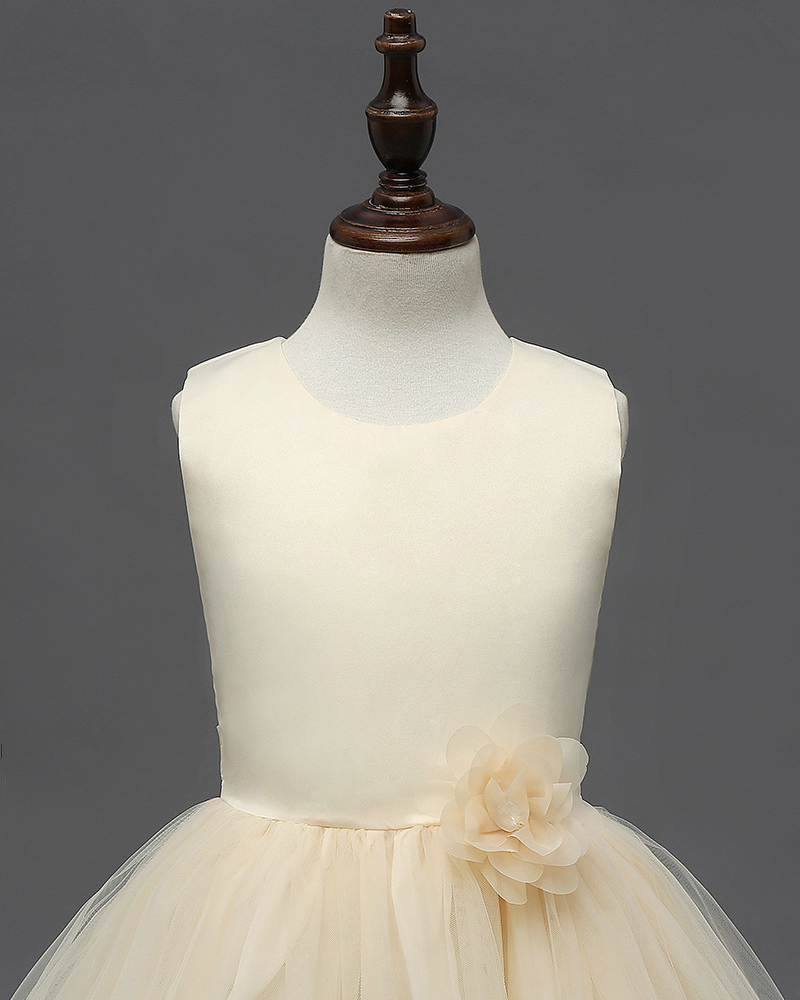 Cute Frist Communion Dress Scoop Flower Girls Dresses Floral Summer Party Gowns  image 7
