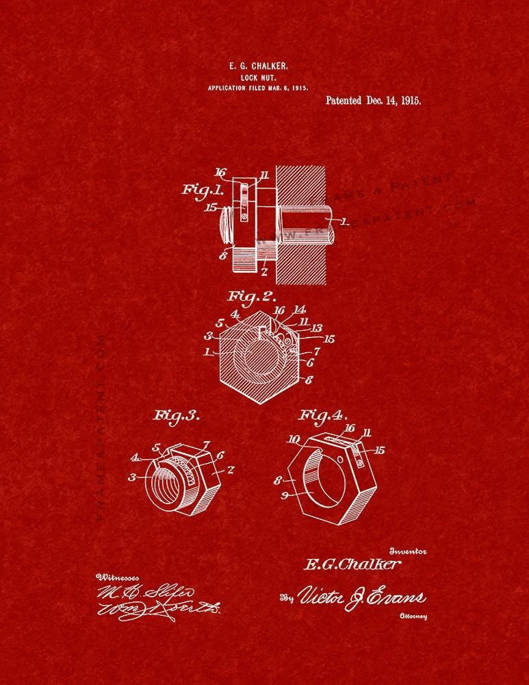 Primary image for Locknut Patent Print - Burgundy Red