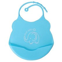 2 Pcs Mother Essential Blue Elephant Silica Waterproof Pocket Baby Bibs