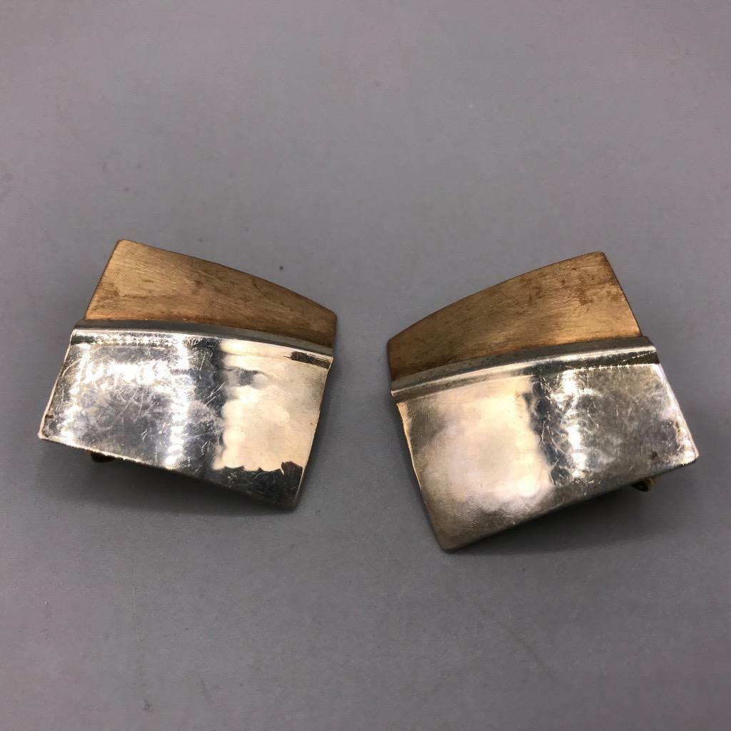Vintage 14k Gold Filled Copper Hammered Metal Screw On Earrings Mid Century