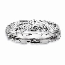 STERLING SILVER STACKABLE EXPRESSIONS PATTERNED SWIRL BAND / RING - SIZE 8 - £22.69 GBP