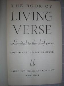 1939 Book of LIVING VERSE Louis Untermeyer poetry poet