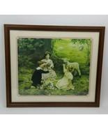 """Elsley Arthur The Joy Of Spring Framed Print 26x22.5"""" Easter Children Lamb  - $79.19"""