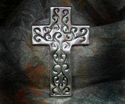 Inspirational Pewter Cross with Swirls - $11.99