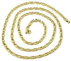 9K GOLD CHAIN TYGER EYE FLAT LINKS 3mm THICKNESS, 60cm, 24 INCHES, NECKLACE - $184.00