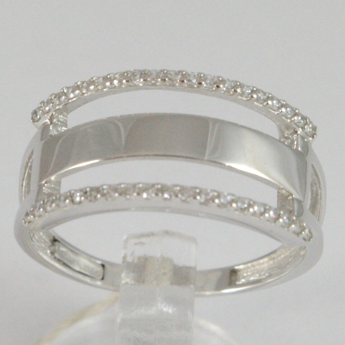 Ring White Gold 750 18K, engaged 3 file with Zirconia Cubic Square