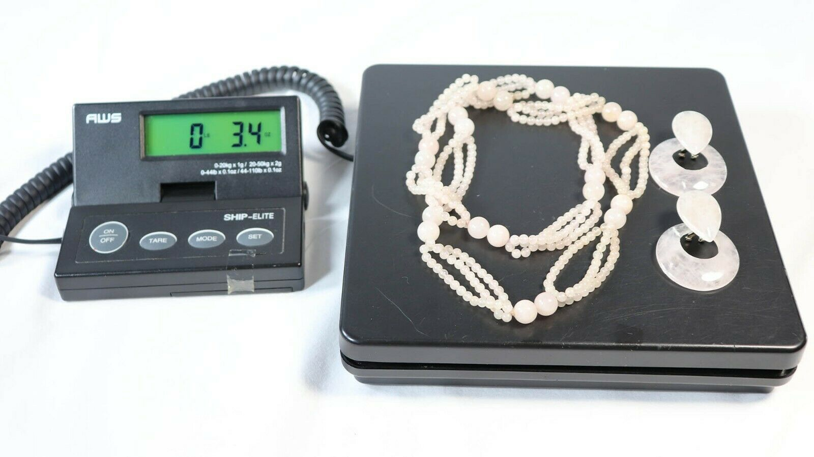 "Vintage Pink Rose Quartz Gemstone 30"" Statement Necklace & Pierced Earrings Set"