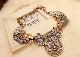 Unique Floral Crystal Chunky Vintage Bronze Bib Necklace - £15.28 GBP