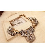 Unique Floral Crystal Chunky Vintage Bronze Bib Necklace - £15.19 GBP