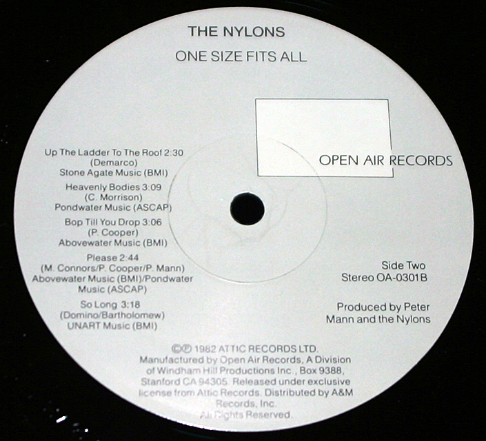 "The Nylons  ""One Size Fits All""  Open Air Records OA-0301    LP"