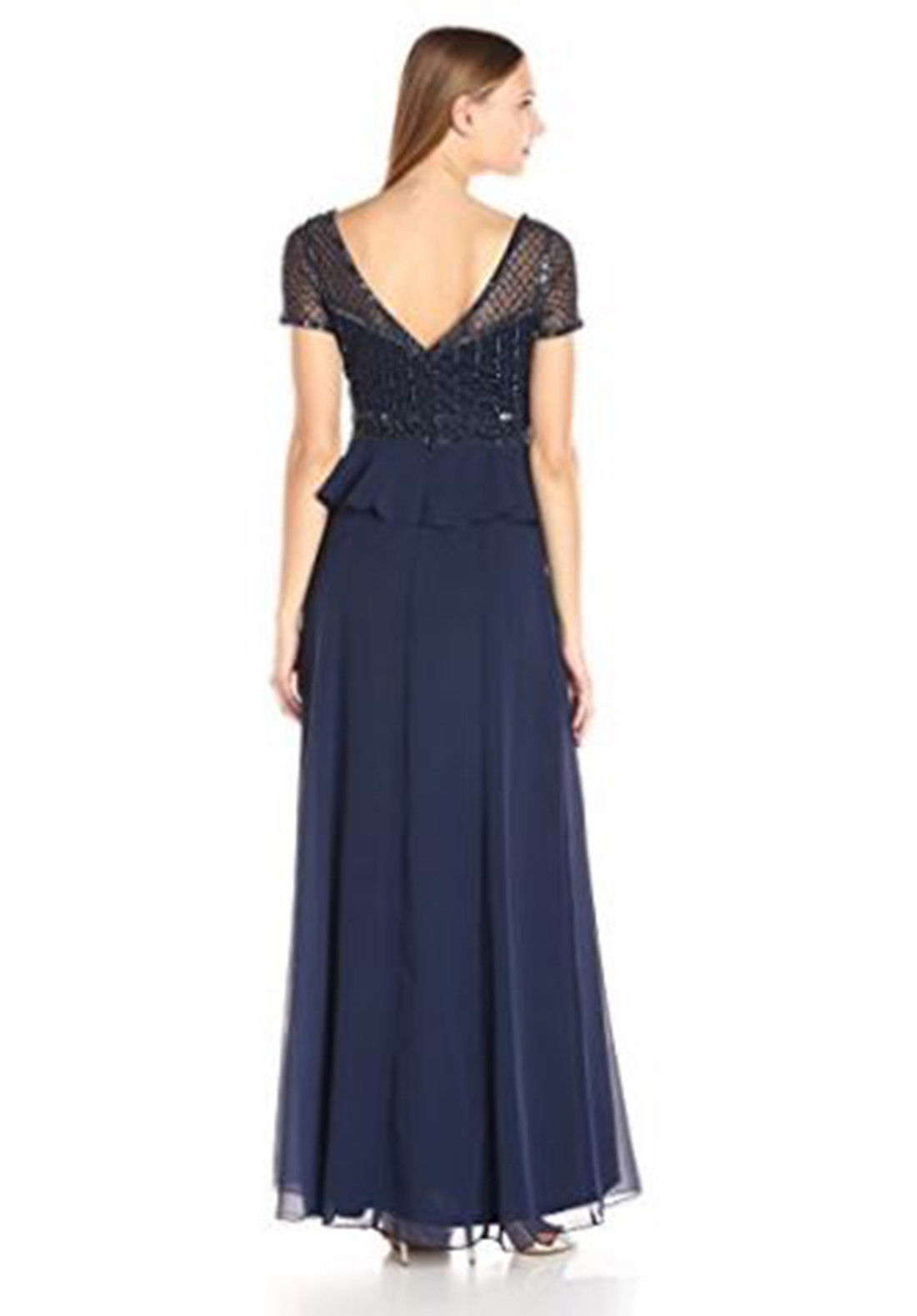 Adrianna Papell Women's Short Sleeve Gown with Beaded Bodice and Ruffle Skirt