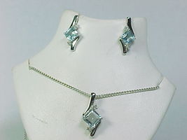 Genuine BLUE TOPAZ and DIAMOND NECKLACE and EARRINGS Set in Sterling Silver - $95.00