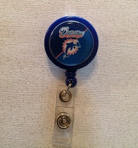 Nfl Miami Dolphins Badge Reel Id Holder teal blue alligator clip handmade new - $6.95