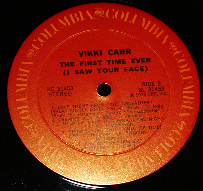 """Vikki Carr  """"The First Time Ever""""  Columbia Records KC-31453   LP"""