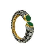 Babosa Sakhi Green Victorian Bracelet Antique Black Cz Dual Tone Openabl... - $38.29