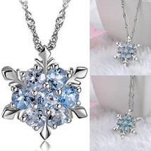 Elegant Jewelry Silver Blue Crystals Snowflake Frozen Flower Necklace Pe... - $9.99