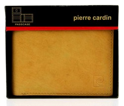 NEW NIB PIERRE CARDIN MEN'S LEATHER CREDIT CARD WALLET PASSCASE TAN 5979-04