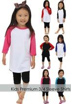 KIDS RAGLAN T-Shirts 3/4 Sleeve Baseball Premium Jersey Boys Girl Youth ... - $12.34+