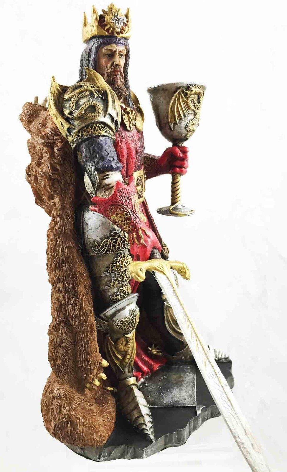 Legendary King Arthur Pendragon Wielding The Excalibur Sword Figurine Matter ...