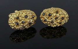 Vintage Gold Tone Rhinestone Oval Nugget Cluster Costume Jewelry Men's C... - $8.99