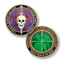 """ZOMBIE CASCADIA QUARANTINE ZONE SHOOT THEM IN THE HEAD 1.75"""" CHALLENGE COIN - $18.04"""