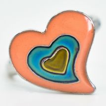 Kid's Fashion Silver Tone Heart Color Changing Fashion Adjustable Mood Ring image 3