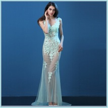 Sheer Chiffon Sleeveless Floral Lace Mermaid Summer Wedding Boudoir Beach Gown image 10