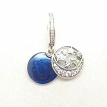 New! Pandora S925 Vintage Night Sky Blue Enamel Dangle Charm Bead #791993CZ - $20.47