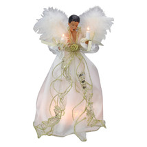 """12"""" Feather Wing White and Gold Dress Angel Tree Topper - $117.95"""