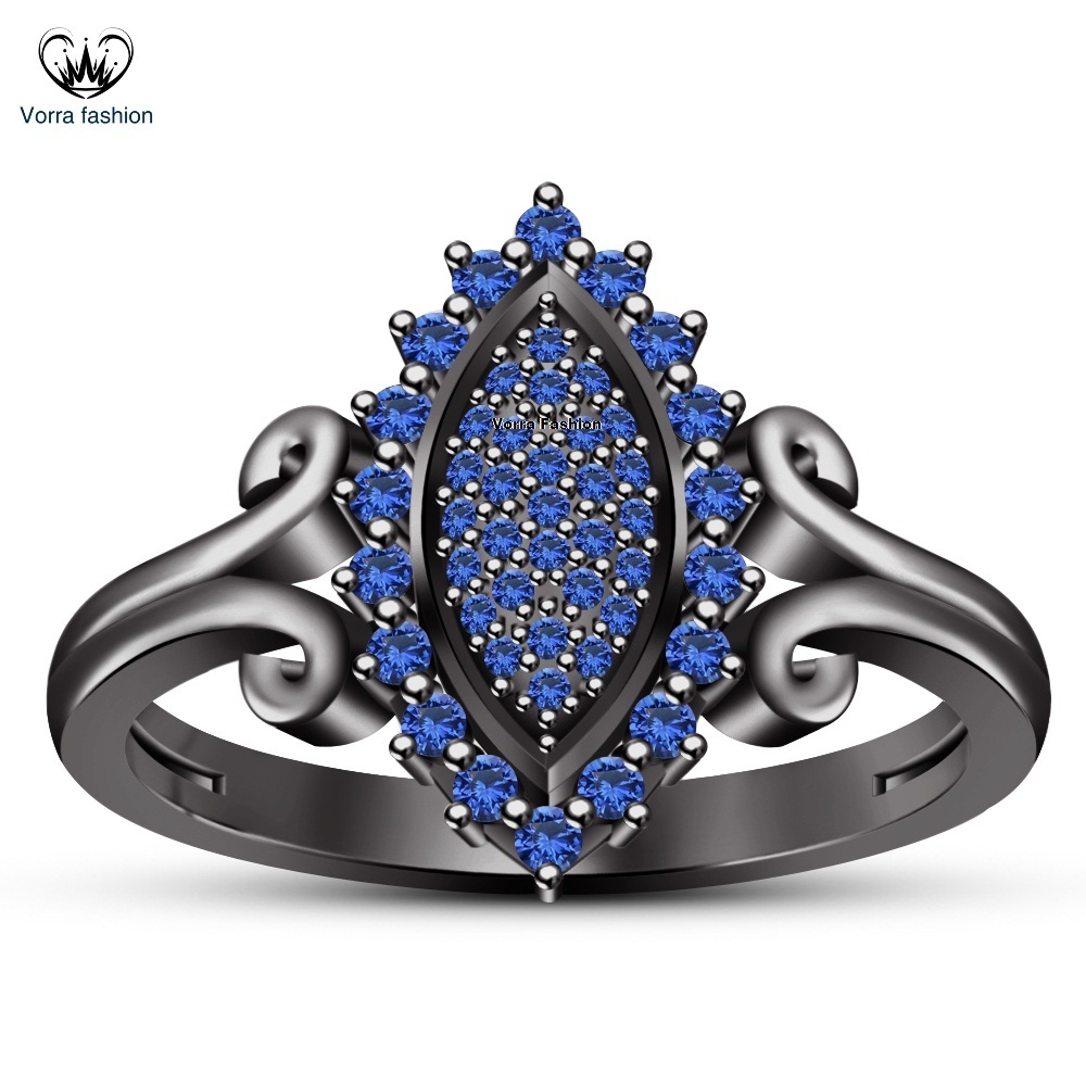 Marquise Shape Wedding Ring Black Gold Plated 925 Silver Round Cut Blue Sapphire