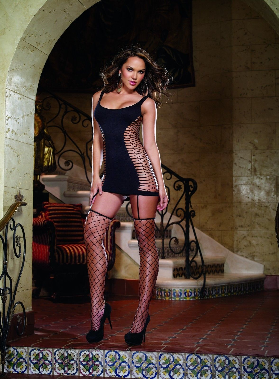 OPAQUE FENCE NET GARTER DRESS BODYSTOCKING ATTACHED THIGH HIGH STOCKINGS OS-QN