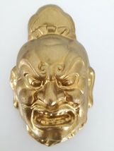 "Vintage or Antique Chinese plaster mask gold face 10"" image 5"