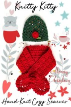 Heart Warming Hand-Knit Cozy Cap and Scarf Set With Sequins and Red Rose... - $24.99