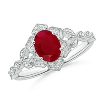 1.14ct Oval Ruby Trillium Floral Shank Cocktail Ring in Gold Size 3-13 - $1,655.10