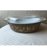 Vintage Pyrex 045 Early American Brown Gold Casserole Dish Oval With Lid... - $18.66