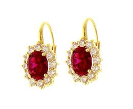18K YELLOW GOLD FLOWER LEVERBACK EARRINGS BIG 7x9mm OVAL RED CRYSTAL, ZIRCONIA image 1