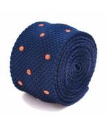 Frederick Thomas Knitted Silk Mens Tie - Dark Navy Blue - Burnt Orange P... - $16.19